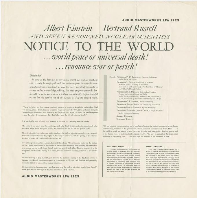 Человечество в опасности: «Манифест Рассела-Эйнштейна» 1955 года актуален! WAAS призывает к распространению